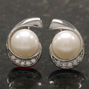 925 Sterling Silver; C.Z & 9-9.5mm White Freshwater Cultured Pearl Stud Earrings