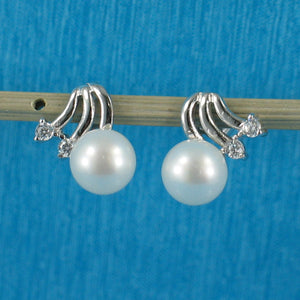 Solid Silver 925 with Rhodium Plated White Cultured Pearl & CZ Stud Earrings