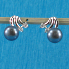 Load image into Gallery viewer, Sterling Silver 925 Rhodium Finish; F/W Cultured Pearl & 4CZ Stud Earrings