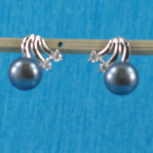 Sterling Silver 925 Rhodium Finish; F/W Cultured Pearl & 4CZ Stud Earrings