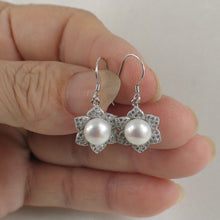 Load image into Gallery viewer, Beautiful Flower Design Solid Silver 925 White Cultured Pearls Hook Earrings