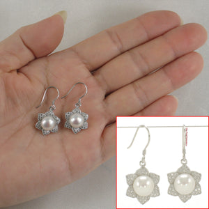 Beautiful Flower Design Solid Silver 925 White Cultured Pearls Hook Earrings