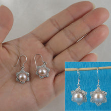 Load image into Gallery viewer, Beautiful Flower Design 925 Sterling Silver; Pink Cultured Pearls Hook Earrings