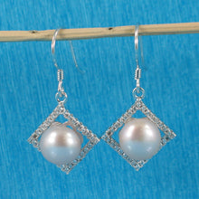 Load image into Gallery viewer, Beautiful Rhombus Design Silver 925 Lavender Cultured Pearls Hook Earrings