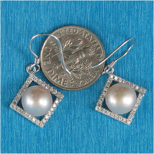 Beautiful Rhombus Design Silver 925 Lavender Cultured Pearls Hook Earrings