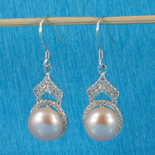 Load image into Gallery viewer, Romantic Pink Cultured Pearls & C.Z Solid Sterling Silver Hook Earrings