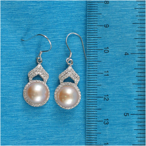 Romantic Pink Cultured Pearls & C.Z Solid Sterling Silver Hook Earrings