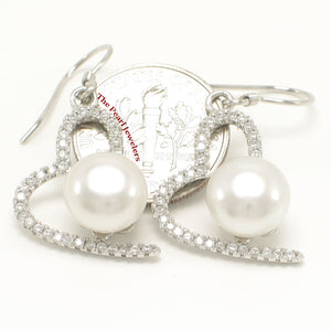 Beautiful Heart Shape Sterling Silver White Cultured Pearls & C.Z. Hook Earrings