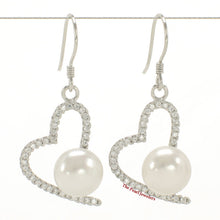 Load image into Gallery viewer, Beautiful Heart Shape Sterling Silver White Cultured Pearls & C.Z. Hook Earrings