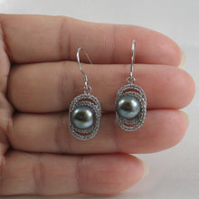 Load image into Gallery viewer, Beautiful Black Cultured Pearls & C.Z. Solid Sterling Silver Hook Earrings