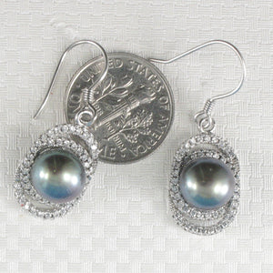 Beautiful Black Cultured Pearls & C.Z. Solid Sterling Silver Hook Earrings