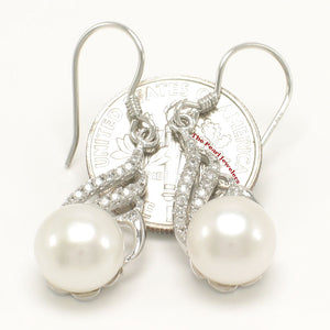 Beautiful White Cultured Pearl & C.Z Solid Sterling Silver 925 Hook Earrings