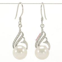 Load image into Gallery viewer, Beautiful White Cultured Pearl & C.Z Solid Sterling Silver 925 Hook Earrings