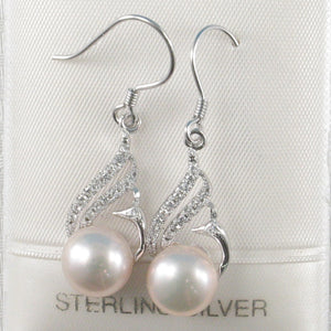 Beautiful Pink Cultured Pearl & C.Z Solid Sterling Silver .925 Hook Earrings