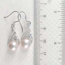 Load image into Gallery viewer, Beautiful Pink Cultured Pearl & C.Z Solid Sterling Silver .925 Hook Earrings