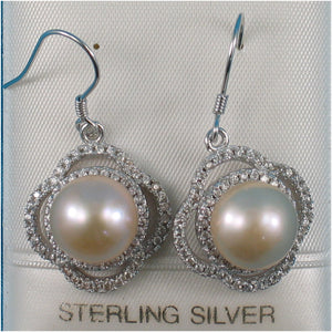 Solid Silver 925 Beautiful Design Pink Cultured Pearls & C.Z Hook Earrings