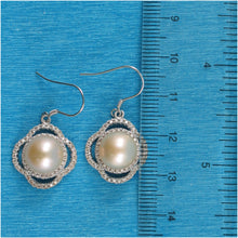 Load image into Gallery viewer, Solid Silver 925 Beautiful Design Pink Cultured Pearls & C.Z Hook Earrings
