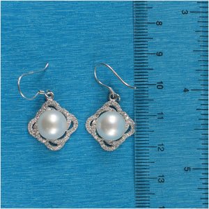 Beautiful White Cultured Pearls & C.Z Solid Silver 925 Hook Earrings
