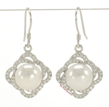 Load image into Gallery viewer, Beautiful White Cultured Pearls & C.Z Solid Silver 925 Hook Earrings