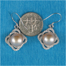 Load image into Gallery viewer, Beautiful Pink Cultured Pearls & Cubic Zirconia Solid Silver 925 Hook Earrings