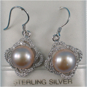 Beautiful Pink Cultured Pearls & Cubic Zirconia Solid Silver 925 Hook Earrings