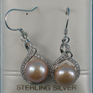 Solid Sterling Silver Set C.Z. & Peach Cultured Pearls Beautiful Hook Earrings