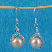 Load image into Gallery viewer, Solid Sterling Silver Set C.Z. & Peach Cultured Pearls Beautiful Hook Earrings