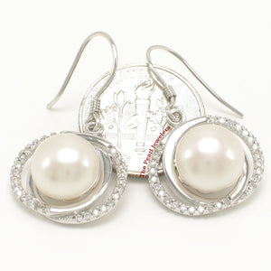 Unique Design Sterling Silver White Cultured Pearls & Cubic Zirconia Earrings