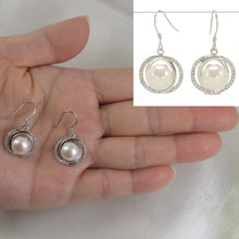 Load image into Gallery viewer, Unique Design Sterling Silver White Cultured Pearls & Cubic Zirconia Earrings