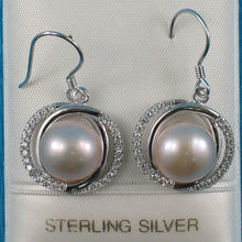 Load image into Gallery viewer, Unique Design Sterling Silver Pink Cultured Pearls & Cubic Zirconia Earrings