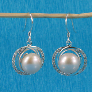 Unique Design Sterling Silver Pink Cultured Pearls & Cubic Zirconia Earrings