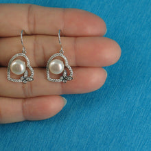 Load image into Gallery viewer, Beautiful Sterling Silver Heart Butterfly C.Z White Cultured Pearls Hook Earrings