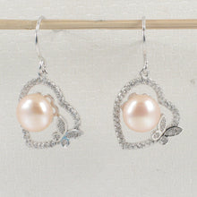 Load image into Gallery viewer, Sterling Silver Romantic Heart Butterfly C.Z Pink Cultured Pearls Hook Earrings