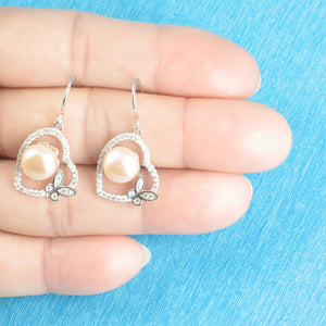 Sterling Silver Romantic Heart Butterfly C.Z Pink Cultured Pearls Hook Earrings