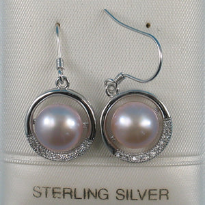 Beautiful Sterling Silver Cubic Zirconia Pink Cultured Pearls Hook Earrings