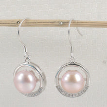 Load image into Gallery viewer, Beautiful Sterling Silver Cubic Zirconia Pink Cultured Pearls Hook Earrings