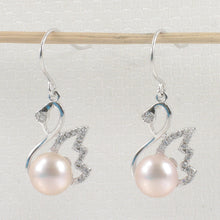 Load image into Gallery viewer, Beautiful Pink Cultured Pearls Hook Earrings Made of Solid Silver 925 & C.Z