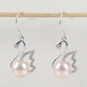 Beautiful Pink Cultured Pearls Hook Earrings Made of Solid Silver 925 & C.Z