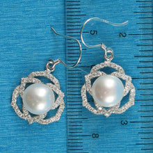 Load image into Gallery viewer, Beautiful AAA White Cultured Pearls Hook Earrings in 925 Sterling Silver & C.Z