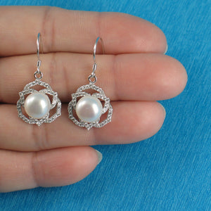 Beautiful AAA White Cultured Pearls Hook Earrings in 925 Sterling Silver & C.Z