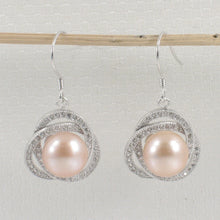 Load image into Gallery viewer, 925 Sterling Silver & C.Z Beautiful AAA Pink Cultured Pearls Hook Earrings