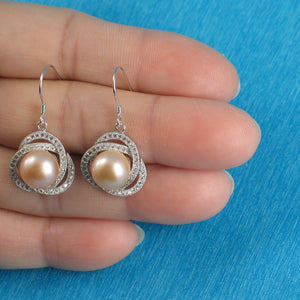 925 Sterling Silver & C.Z Beautiful AAA Pink Cultured Pearls Hook Earrings