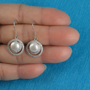 925 Sterling Silver & C.Z Well Match White Cultured Pearls Hook Earrings
