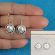 Load image into Gallery viewer, 925 Sterling Silver & C.Z Well Match White Cultured Pearls Hook Earrings