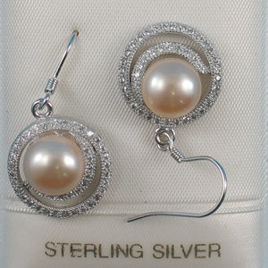 Sterling Silver .925 & C.Z Well Match Pink Cultured Pearls Hook Earrings