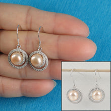 Load image into Gallery viewer, Sterling Silver .925 & C.Z Well Match Pink Cultured Pearls Hook Earrings