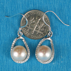 Solid Sterling Silver .925 C.Z. & Pink Cultured Pearls Beautiful Hook Earrings