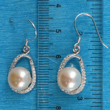 Load image into Gallery viewer, Solid Sterling Silver .925 C.Z. & Pink Cultured Pearls Beautiful Hook Earrings
