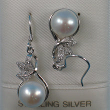 Load image into Gallery viewer, Beautiful Unique Design Solid Silver 925 C.Z. & White Pearl Hook Earrings