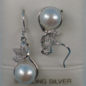 Beautiful Unique Design Solid Silver 925 C.Z. & White Pearl Hook Earrings